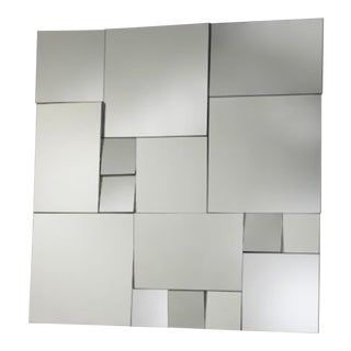 Cyan Contemporary Jigsaw Paneled Wall Mirror For Sale