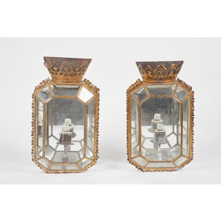 Pair of 19th C. Regency Glass and Tole Sconces