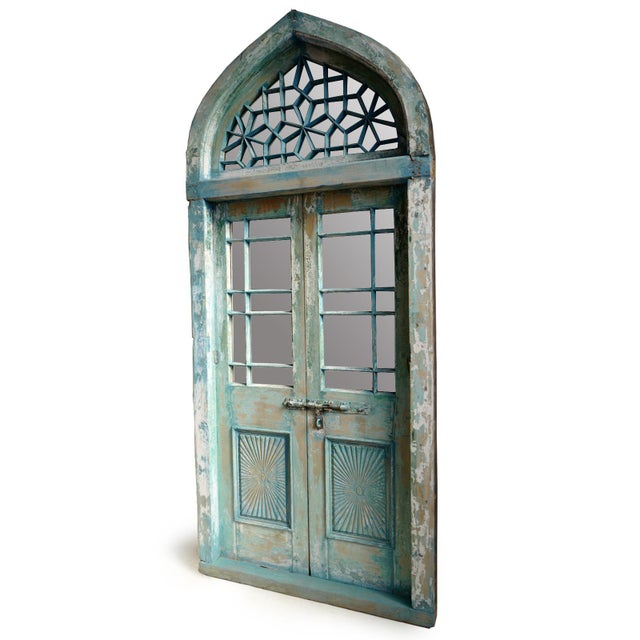 Beautiful original North India architectural church door. Rich blue aged patina. Glass has been replaced with mirror to...