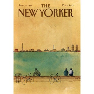 Vintage 1981 New Yorker Cover, June 22 (Abel Quezada), Sports, Cycling For Sale