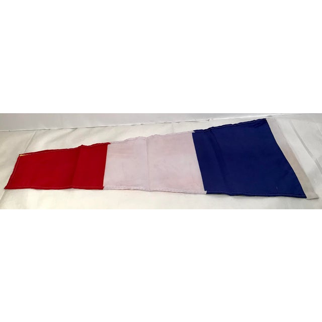 Vintage Nautical Blue, White & Red Ship Flag For Sale - Image 4 of 5