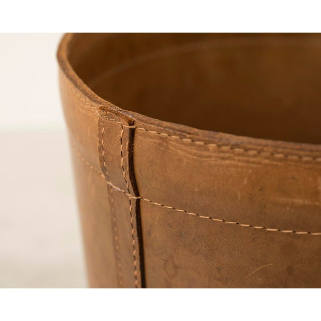 Leather Danish Wastebasket, 1960s For Sale - Image 9 of 11