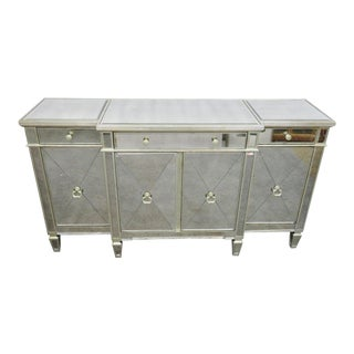 Hollywood Regency Silver Gilt Mirrored Sideboard For Sale