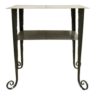 Brutalist-Style Blackened Iron Side Table For Sale