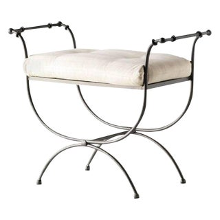 New Black Wrought Iron Curule Bench With Cushion, Savonarola, Throne For Sale