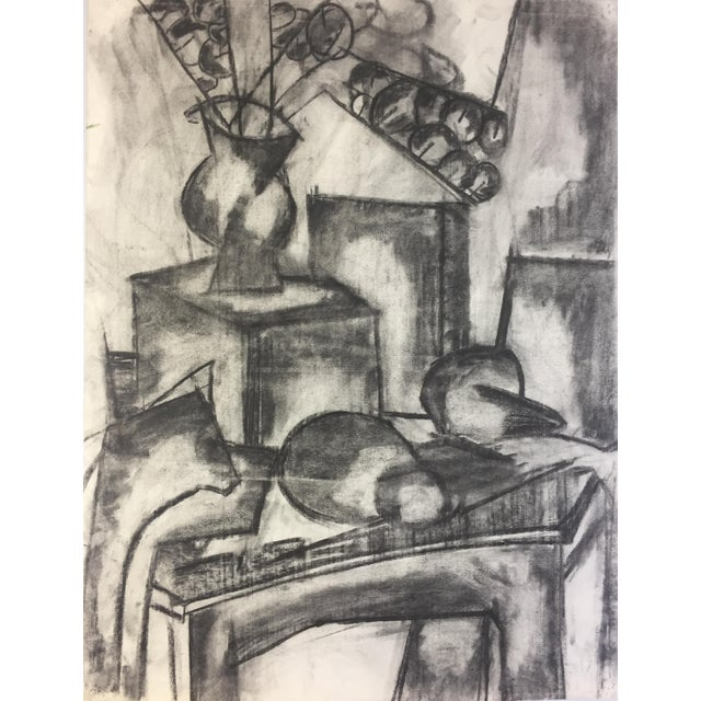 "Henry Woon Charcoal Still Life c. 1950's Charcoal on Strathmore Charcoal Paper 19 1/2""x25""Unframed Unsigned Excellent..."