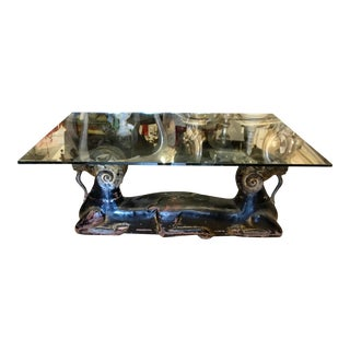 Antique Egyptian Ram Sculptures - Now a Glass Top Coffee Table For Sale