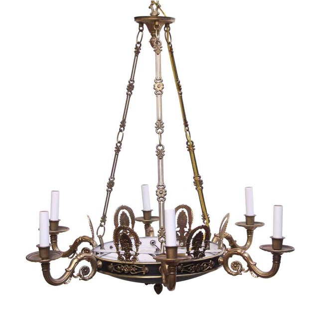 Traditional Empire Style 6 Arm Brass Chandelier With Black Finish - From the Waldorf Astoria For Sale - Image 3 of 12