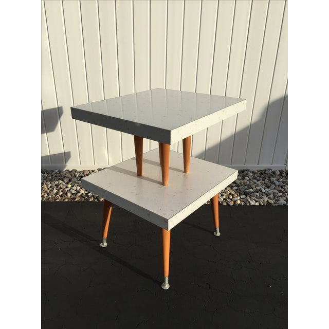 Mid-Century Two-Tier Formica Starburst Side Table - Image 2 of 8