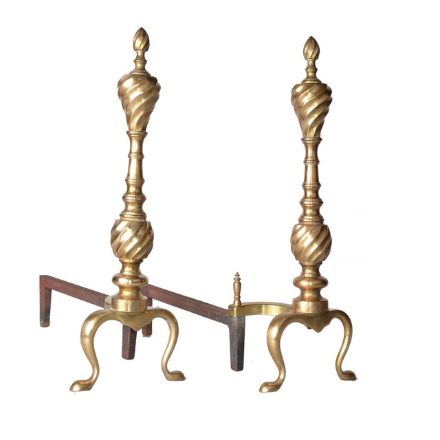 Pair of Solid Brass Andirons For Sale - Image 9 of 10