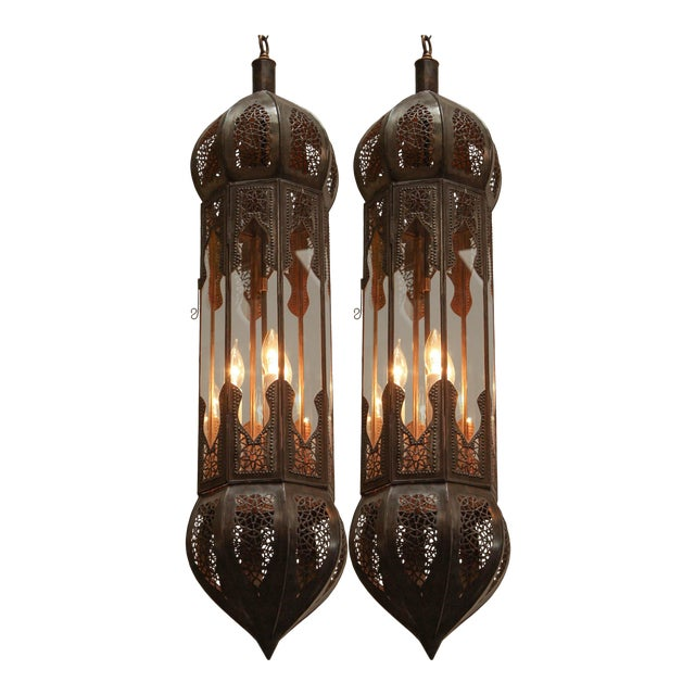 Large Pair of Metal and Clear Glass Moorish Moroccan Light Pendants For Sale