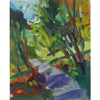 """""""Autumn Trail"""" Contemporary Expressionist Style Landscape Oil Painting by Jose Trujillo For Sale"""