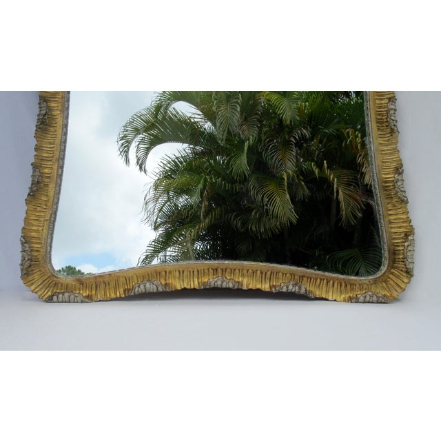 Vintage C.1963 Hollywood Regency, Italian Venetian Carved Gilt Gold & Silver Scalloped Mirror For Sale In West Palm - Image 6 of 13