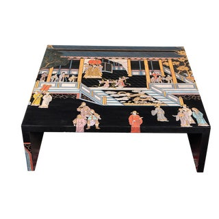Maitland-Smith Vintage Hand Painted Large Chinoiserie Lacquered Rare Coffee Table