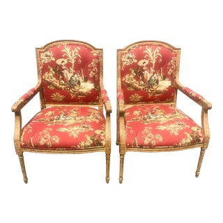 Red Chinoiserie Print Bergere Chairs - a Pair For Sale