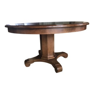 English Round Parquet Pedestal Table
