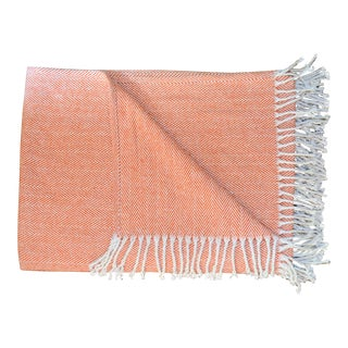 Italian Paprika Throw Blanket with Tassle Fringe For Sale
