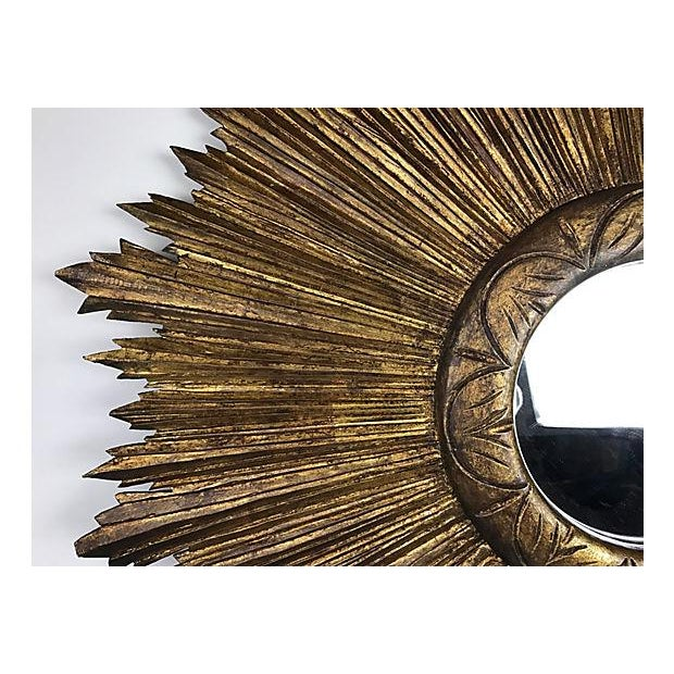 French Wood Sunburst Mirror - Image 3 of 4