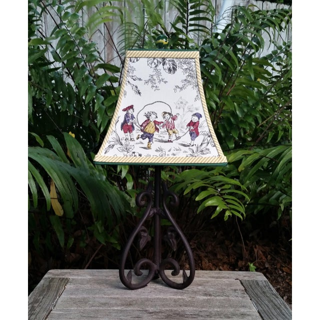 Toile Lampshade French Country Square Bell For Sale - Image 4 of 11