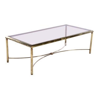 1970s Hollywood Regency Bronze Glass-Top Coffee Table