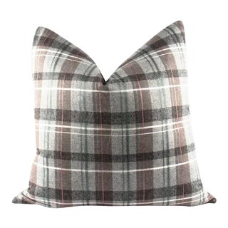 "Gray and Brown Plaid Wool Accent Pillow 24"" x 24"""