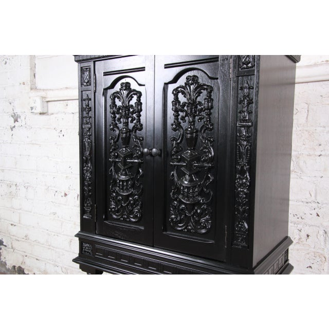 French Antique 1920s Ebonized Carved Walnut Bar Cabinet For Sale - Image 3 of 10