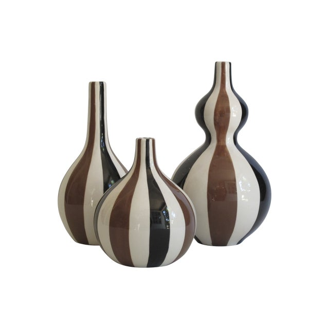 Jonathan Adler Striped Vase Collection- Set of 3 For Sale