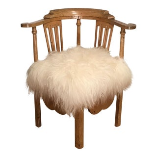 Antique 18th Century Corner Chair w Icelandic Sheep Fur Seat