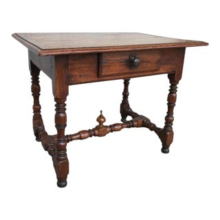Italian Baroque Walnut and Chestnut Side Table For Sale