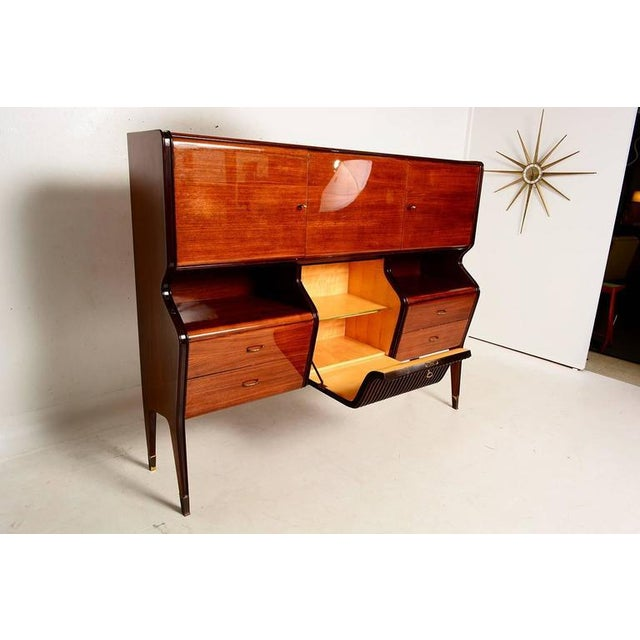 Brown Osvaldo Borsani Attributed Bar Cabinet in Rosewood For Sale - Image 8 of 11