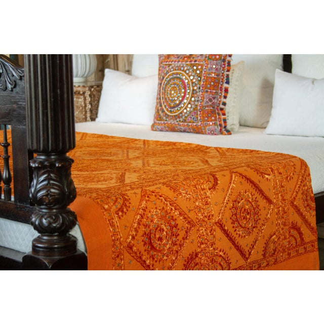 Indian Tangerine Sheesha Coverlet For Sale - Image 3 of 8