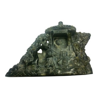 Vintage Large Chinese Carved Soapstone Mountain Scene Sculpture For Sale