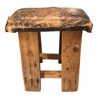 Vintage Distressed Leather Saddle Stool For Sale