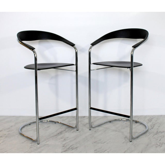 1970s Vintage Thonet Italian Mid Century Modern Bar Stools - a Pair For Sale - Image 9 of 9