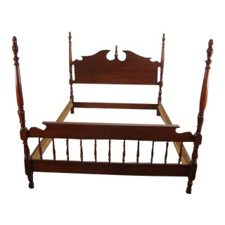 1980s Traditional Pennsylvania House Solid Cherry Queen Size Bedframe For Sale