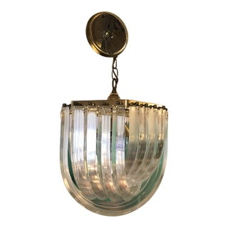 Vintage Continuous Banded Lucite and Brass Chandelier For Sale