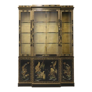 Drexel Heritage Chinoiserie Breakfront China Cabinet For Sale