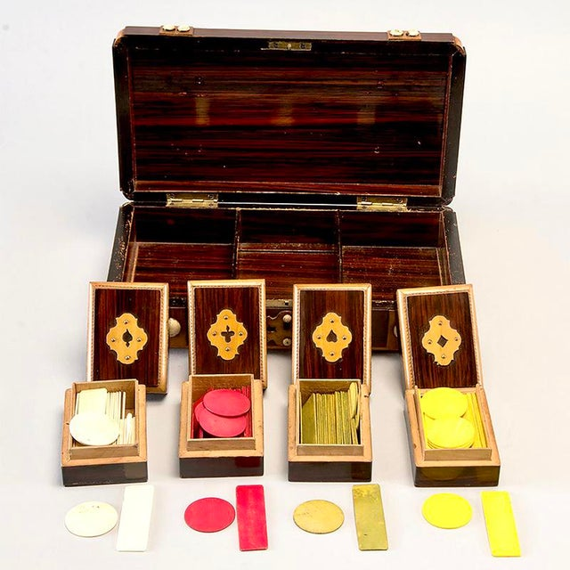1920s French Inlaid Mahogany Game Box With White Stones For Sale - Image 5 of 7