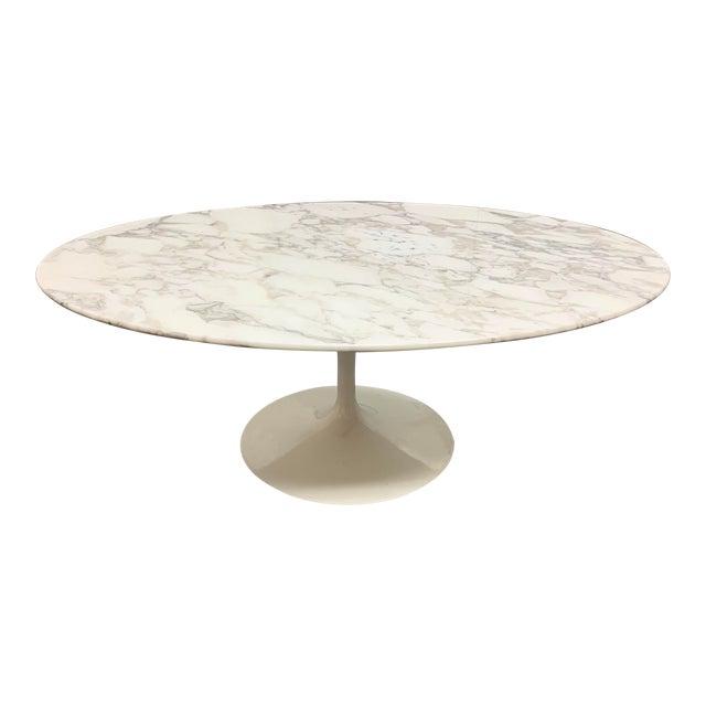 Knoll Eero Saarinen Marble Low Oval Coffee Table For Sale