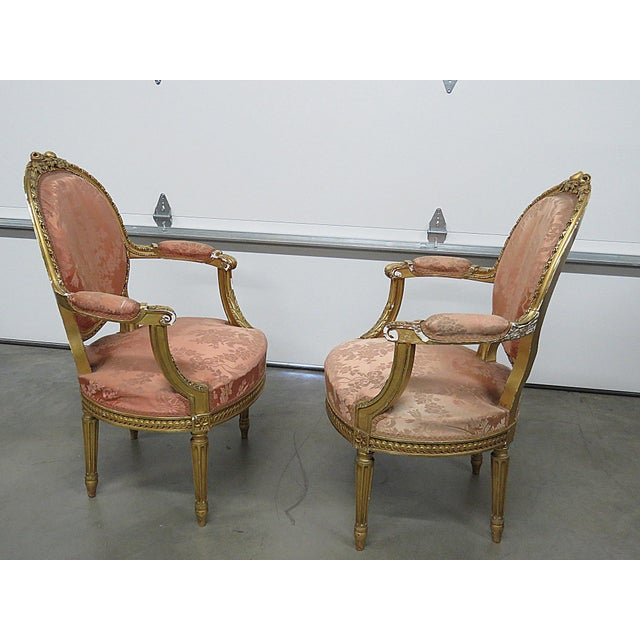 French Regency Style Arm Chairs - a Pair For Sale - Image 9 of 13