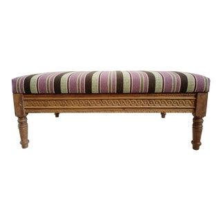 Striped Kilim Ottoman For Sale