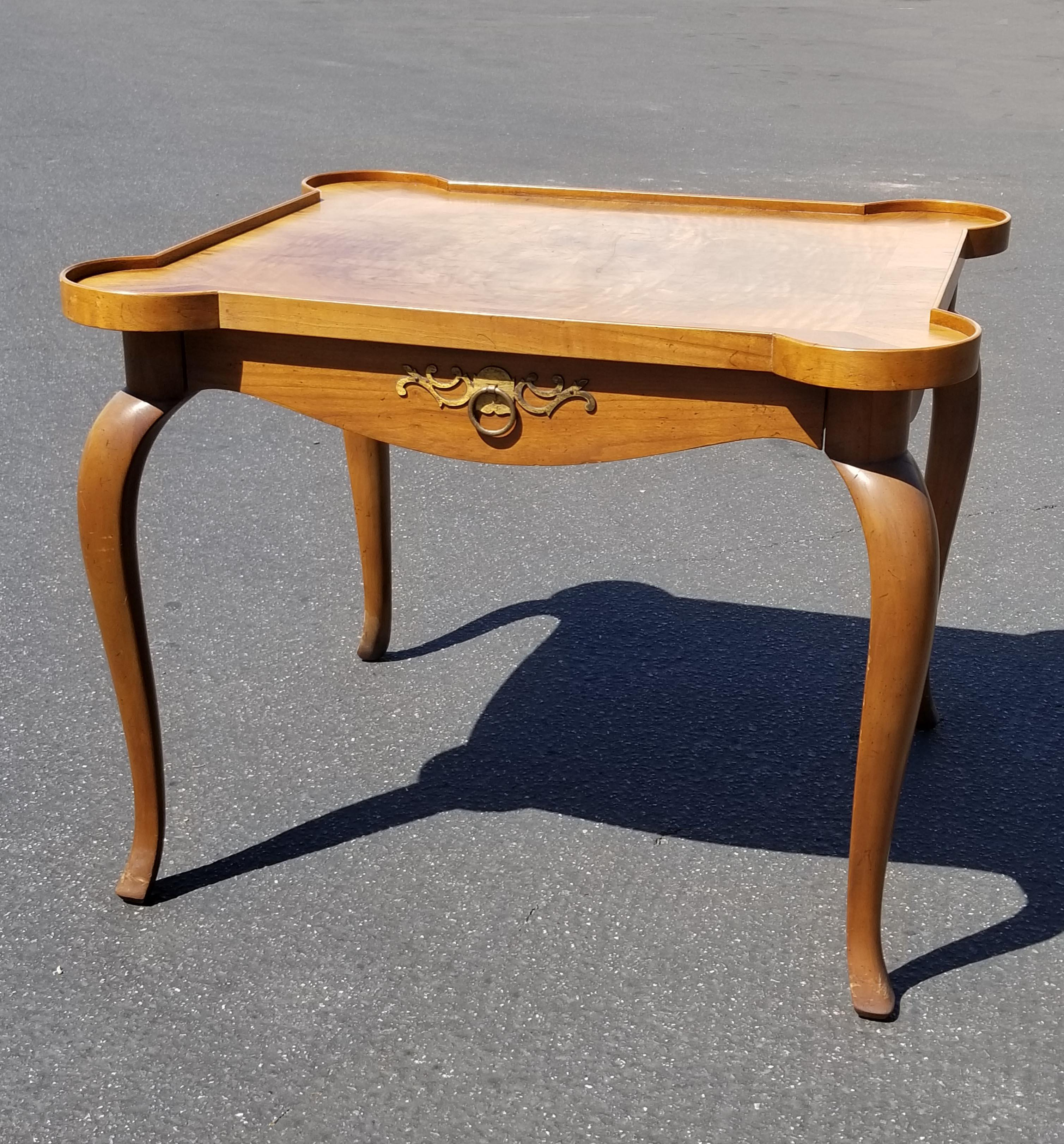 Wood Vintage Baker Furniture French Style Side Table ~ End Table W Burl  Wood For Sale