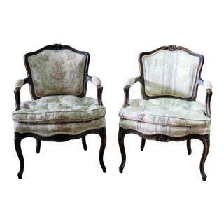 Companion Pair of Louis XVI Style Fauteuils For Sale