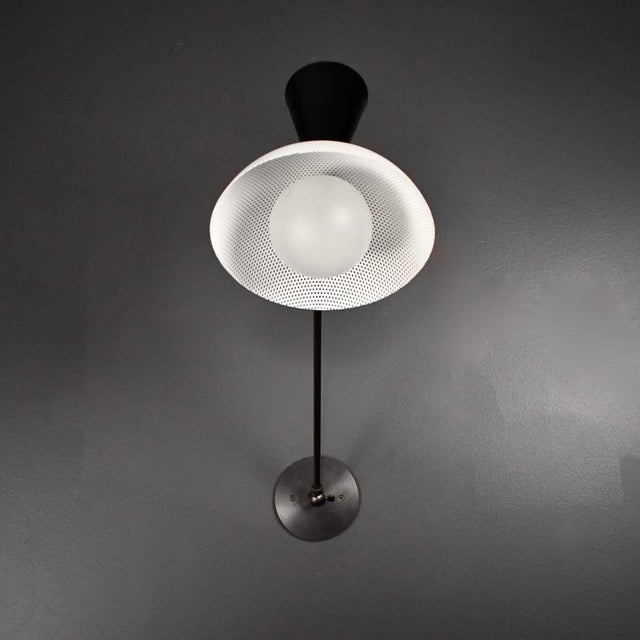 Mid-Century Modern Molto Wall-Mount Reading Lamp in Bronze & Enameled Mesh by Blueprint Lighting For Sale - Image 3 of 9