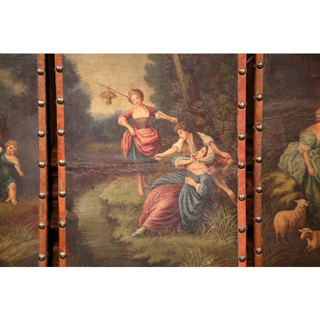 Animal Skin 18th Century, French Hand-Painted Leather Four-Panel Screen from Lyon For Sale - Image 7 of 11