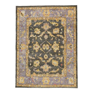 Contemporary Turkish Oushak Rug, Charcoal and Lavender Oushak Area Rug For Sale