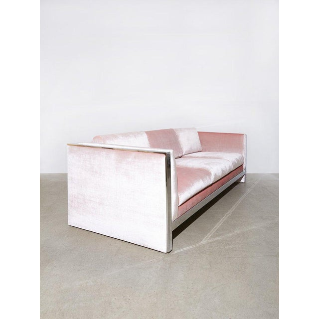 Vintage Milo Baughman Sofa with loose seat and back cushions, chromed flat-bar steel frame detail and light pink velvet...