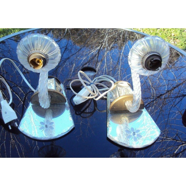 Hollywood Regency C. 1940's Venetian Murano Hollywood Regency Crystal Mirrored Wall Sconces - a Pair For Sale - Image 3 of 7