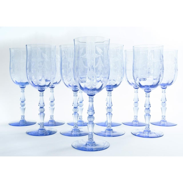 Vintage North American etched crystal barware / tableware wine / water service for eleven people. Each glass is in...