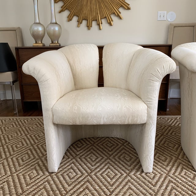 Contemporary 1970s Milo Baughman Thayer Coggin 1980s Deco Revival Shell Chairs For Sale - Image 3 of 9